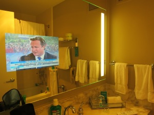 TV in the bathroom at the Donetello Hotel, SF.